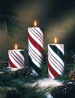 Holiday Striped Solid Pillars - Unscented - Non Beeswax